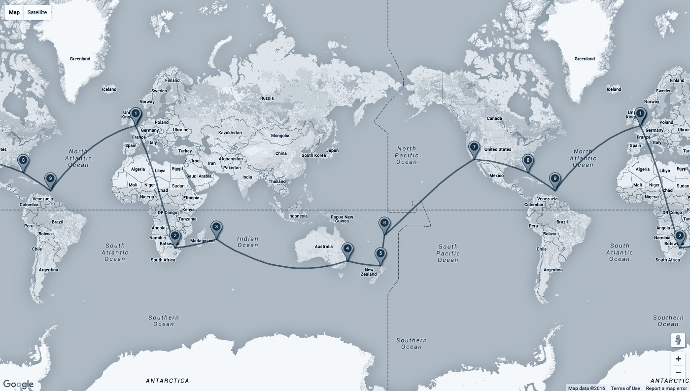 Map: London – Mauritius Johannesburg – Sydney – Auckland – Nadi – Los Angeles – Miami – St Lucia – London
